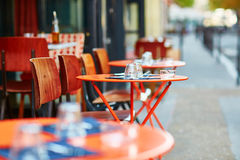 Table of traditional outdoor French cafe in Paris Royalty Free Stock Photo