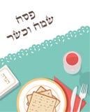 Table traditionnelle de pâque pour le dîner de pâque avec le plat de pâque et l'histoire de Hagaddah pâque heureuse et cachère de illustration stock