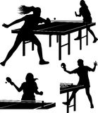 Table trennis silhouettes - women. Vector icons of girls playing table tennis Royalty Free Stock Images