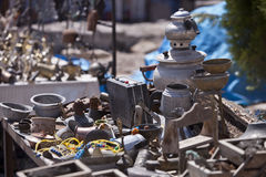 Table of Trinkets. A table of trinkets for sale in Cappadocia Turkey stock photos