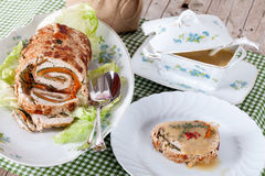 Table With Turkey Roll Royalty Free Stock Image