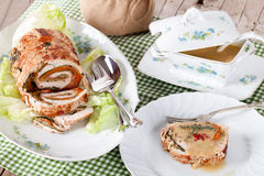 Table With Turkey Roll Stock Photos