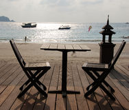 Table For Two. In beach resort Pulau Redang, Malaysia Royalty Free Stock Photo