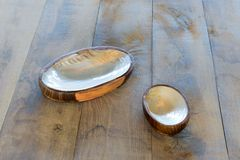 Table with two ashtrays from seashells Royalty Free Stock Images