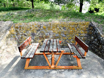 Table and two benches Royalty Free Stock Images