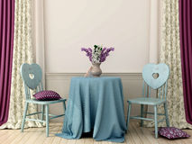 Table with two blue chairs Royalty Free Stock Photos