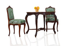 Table and two chairs Stock Images