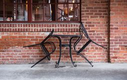 Table for two. Isolated cafe seating. stock images