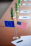 Table with two flag Royalty Free Stock Photos
