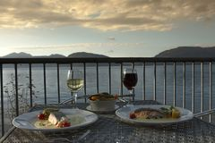 Table for two. Loch Linnhe, Kentallen. Scottish Highlands stock image