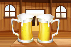 A table with two mugs of beer Royalty Free Stock Photos