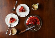 Table two portions of cake with coffee Royalty Free Stock Photo
