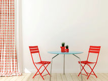 Table with two red chairs Royalty Free Stock Photo