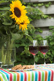 Table for two with sunflowers Royalty Free Stock Photo