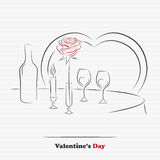 Table for two. Valentine's day restaurant table for two for greeting or invitation card royalty free illustration