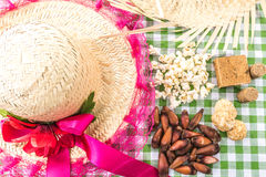 Table with typical Brazilian Sweets for the famous Junina Party Stock Images