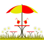Table with umbrella Royalty Free Stock Photography