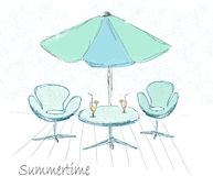 Table with umbrella. Hand draw   illustration Royalty Free Stock Photos