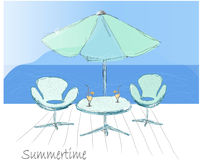 Table with umbrella. Hand draw   illustration Royalty Free Stock Image