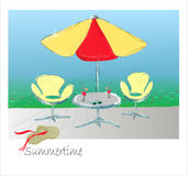 Table with umbrella. Hand draw   illustration Stock Image