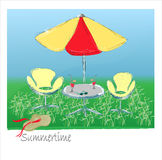 Table with umbrella. Hand draw   illustration Royalty Free Stock Images