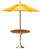 A table with an umbrella. Illustration of a table with an umbrella on a white background Royalty Free Stock Images