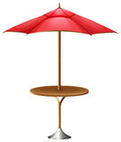 A table with an umbrella. Illustration of a table with an umbrella on a white background Royalty Free Stock Image