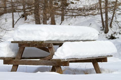 Table under snow Royalty Free Stock Photos