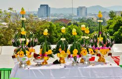 Table urashenny for Buddhist ceremony on the background of Phuket Town Royalty Free Stock Photo