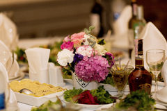 Table with various arabic food served Stock Images