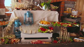 A Table With Various Food. A Close up of an Appetizer Spread Full of Various Foods Laid Out on a Restaurant Table stock video footage