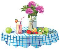 On the table is a vase of flowers, a plate of fruit and juice in vector illustration