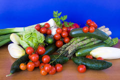 Table With Vegetables. Food & Drinks - mix of colorful, fresh vegetables. Horizontal pose Royalty Free Stock Image