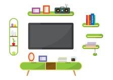 Table verte de TV avec les objets décoratifs de meubles photo stock