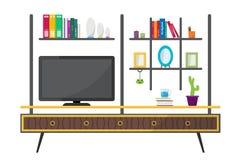 Table verte de TV avec les objets décoratifs de meubles photos stock