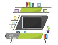 Table verte de TV avec les objets décoratifs de meubles Intérieur contemporain de salon Meubles modernes photos libres de droits