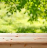 Table vide dans le jardin Photo stock