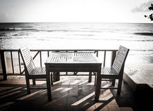 Table on view beach Royalty Free Stock Image