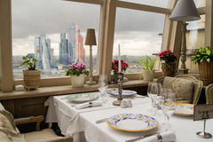 A table with a view of the Moscow city. Stock Image