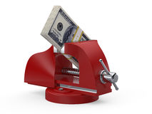 Table vise squeezing Dollars Stock Images