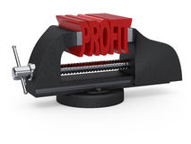 Table vise squeezing profit Stock Photography