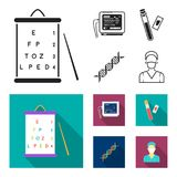 A table of vision tests, a blood test, a DNA code, an ECG apparatus. Medicine set collection icons in black, flat style. Vector symbol stock illustration Stock Images