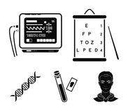 A table of vision tests, a blood test, a DNA code, an ECG apparatus. Medicine set collection icons in black style vector. Symbol stock illustration Royalty Free Stock Photos