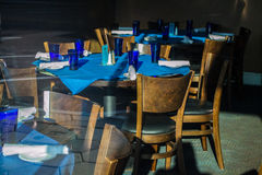 The table is waiting for you, table in a restaurant. Restaurant tables set for fine dining Royalty Free Stock Photos