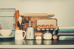 Table Ware, Different Grocery Stuff on Kitchen Stock Photos
