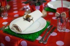 Table wares on children's birthday Stock Photos