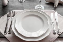 Table wares in the restaurant stock images