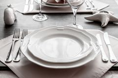 Table wares in the restaurant royalty free stock photography