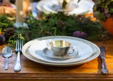 Table wares for the tea. Fariytale-like table setting royalty free stock photo