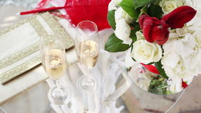 Table for the wedding ceremony. Table with the attributes of a wedding ceremony stock video footage